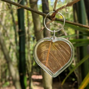Encased Kratom Leaf Heart Keychain